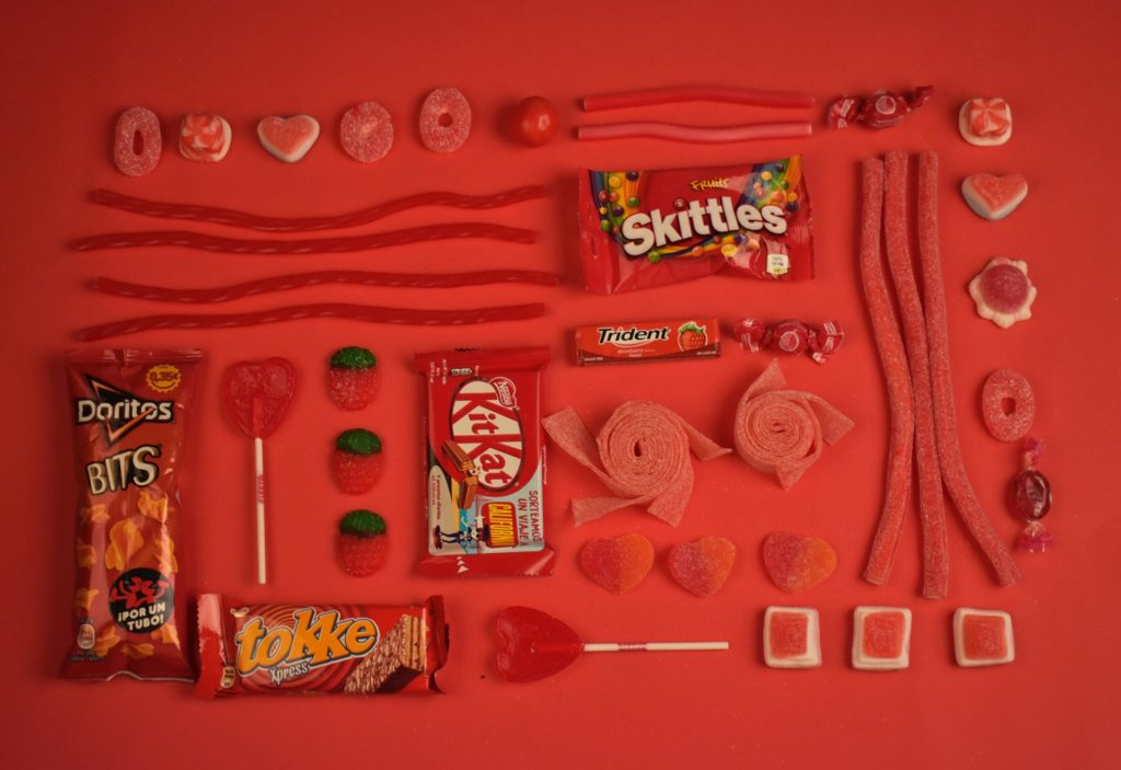 Flat Layout of red branded products